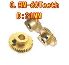 3PCS  0.5M-60Teeth Convex brass copper precision micro motor convex gear--hole d:5mm