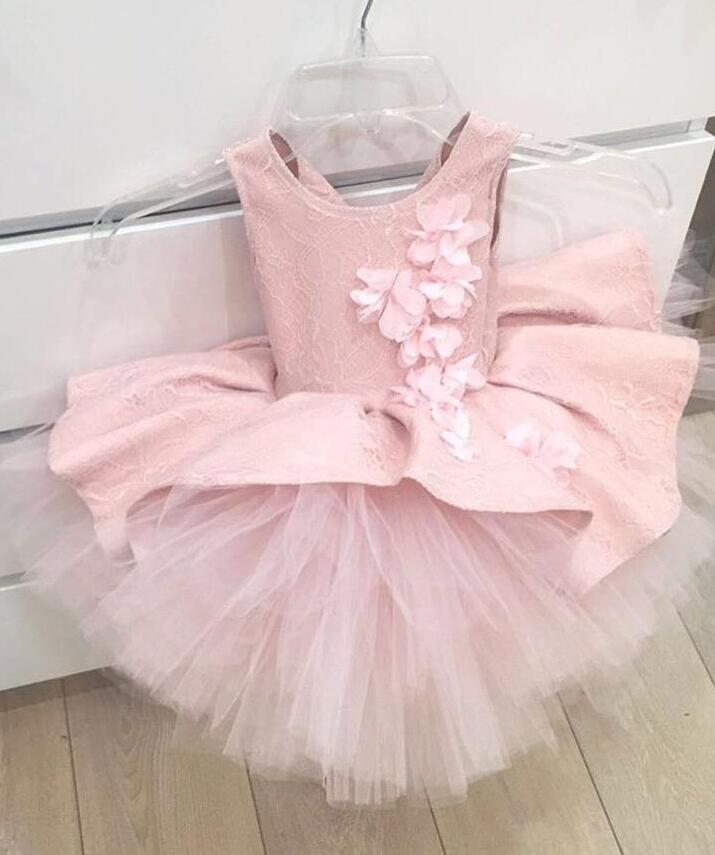 Blush pink french lace soft tulle flower girl dress with chiffon flowers appliques baby birthday gown