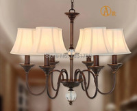 6 heads American country style CRYSTAL BALL pendant lamp Dining Room bedroom Bar Light fabric shade Chandelier lights