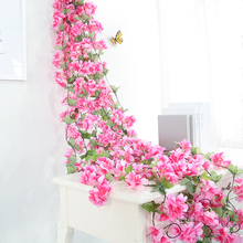 Xuanxiaotong Cherry Blossoms Artificial Flower Vines for Wedding Party Ceiling Decoration Wall Hanging Rattan Supplies Garland
