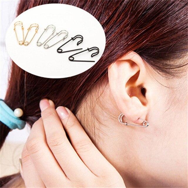 3e3e9e10cd264e New Hot Sale Personalized PUNK Rock Style Gold/Silver/Black Small Safety  Pins Shape Drop Earring For Women Men Trinket Earring