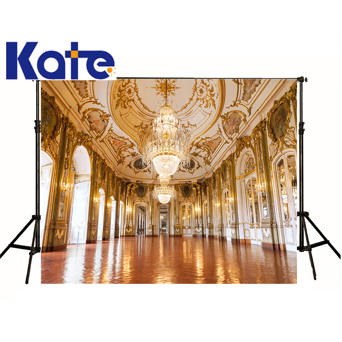 Kate Photographic Background Golden Palace Chandelier Crystal Lamp Photo Photocall Backdrops Boy Kids 8 x 8 ft