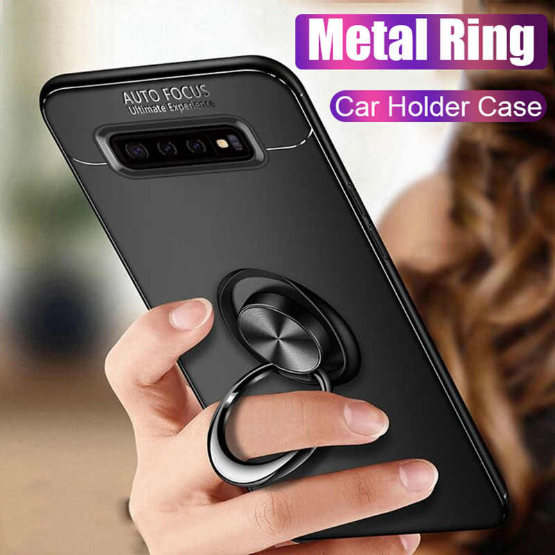 Luxury Shockproof Metal Ring Case On The For Samsung Galaxy S8 S9 Plus S10 Lite Phone Case Cover For S10E Note 8 9 Soft Case