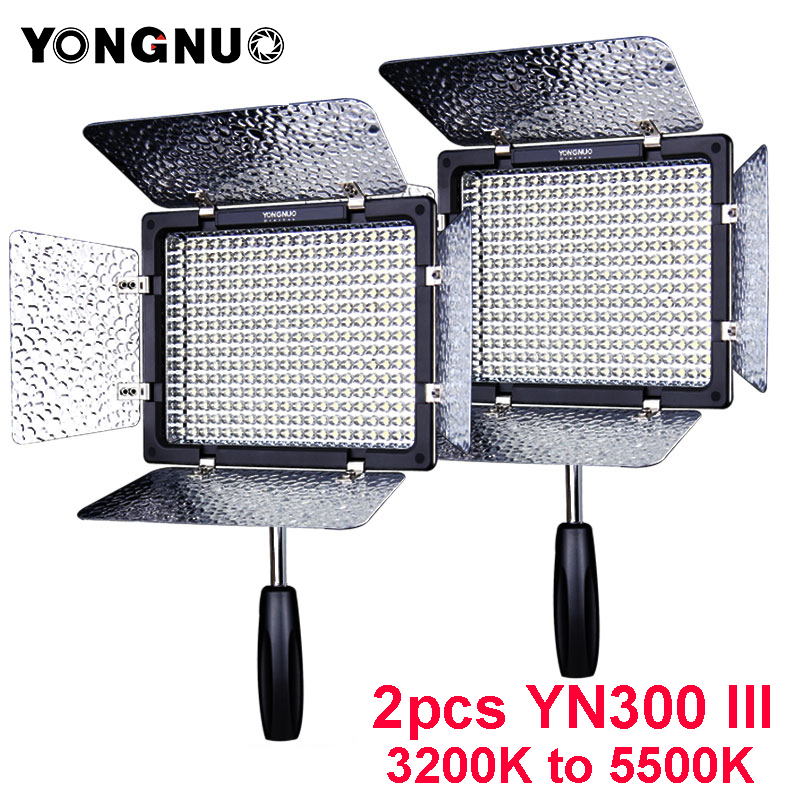 2PCS YONGNUO YN300 III YN300III YN-300 III CRI95 3200K-5500K LED Video Light with Barndoor photographic led panel lamp for DSLR цена 2017