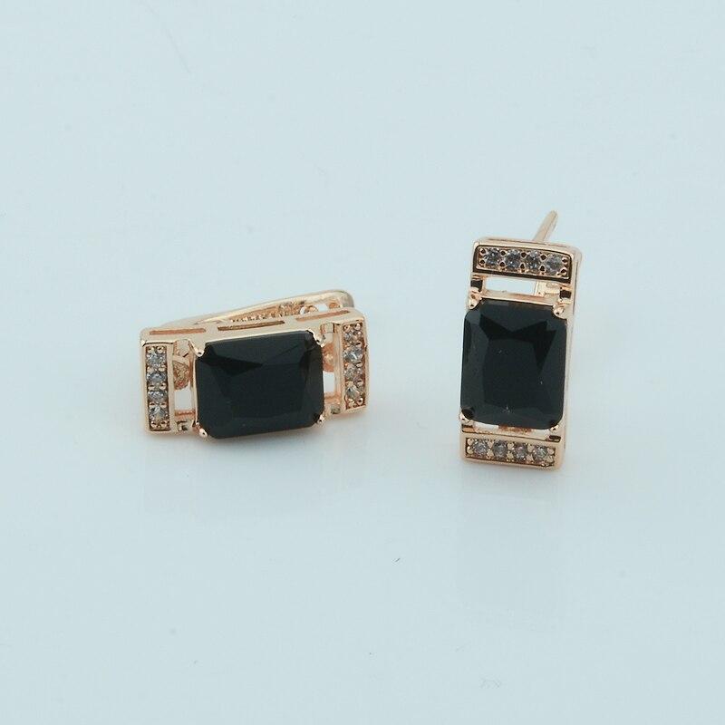 1 Paar Damen Damen 585 Gold Farbe Rose Ohrringe Schwarz Stein Schmuck Ohrringe