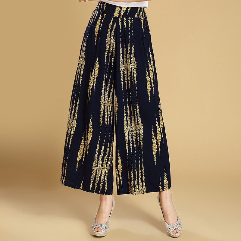2019 Spring Summer High Waist Women   Pants   Casual Loose   Wide     Leg     Pants   Korean Elastic Waist Striped Plaid   Pants   Plus Size