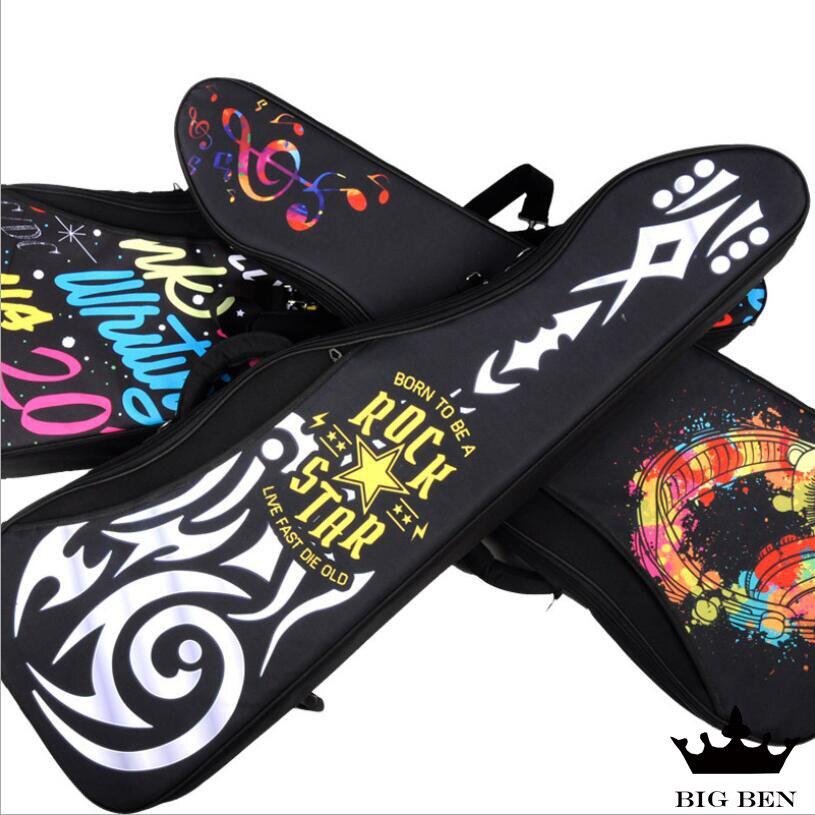 Musique casque motif guitare électrique sac épaissir prévenir les chocs étanche 600D guitare sangles sac mode rock case