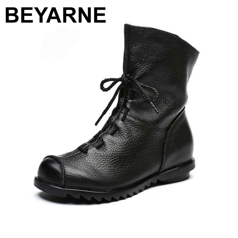 BEYARNE Genuine Leather Women Boots Vintage Flat Winter Spring Ankle Boots Soft Cowhide Bootie Women's Shoes handmade women shoes genuine leather women boots spring autumn vintage ankle boots flat bootie botas mujer