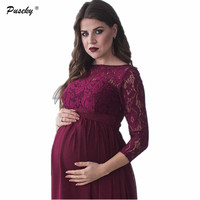 Fashion Maternity Wrist Sleeve Dresses Photography Props Autumn White Lace Maternity Long Dress Pregnant Photography Dresses