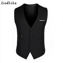 GODLIKE  2017 men business fashion Slim suit vest/Men's cotton self-cultivation vest waistcoat Size M-3XL