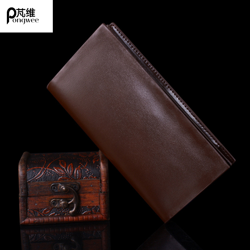 PONGWEE 2017 High Capacity Long Wallets Men Purse Card Holder New Mens Wallets Genuine Leather Coin Wallet Simple Business genuine leather men wallets long purse big capacity wallet for men high quality zipper men purses card coin holder phone bag