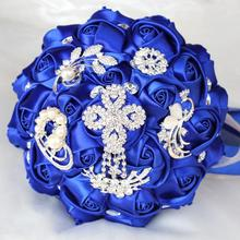 Different Size Bride Brooch Bouquet Royal Blue Heart Crystal Wedding Flowers Bridal Bouquets Accessories W235