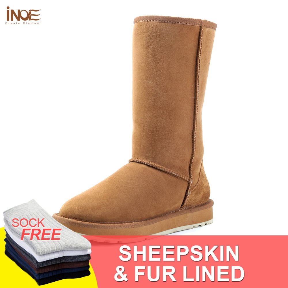 INOE classic sheepskin suede leather wool fur lined high winter snow boots for women winter shoes brown black 35-44 rubber sole inoe fashion fox fur real sheepskin leather long wool lined thigh suede women winter snow boots high quality botas shoes black