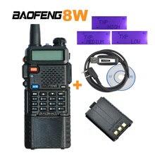 3800 мАч Батарея Baofeng PTT 8 Вт Dual Band/UHF ветчиной двусторонней радиосвязи Walkie Talkie трансивер UV-8HX, uv-5re плюс + кабель для программирования