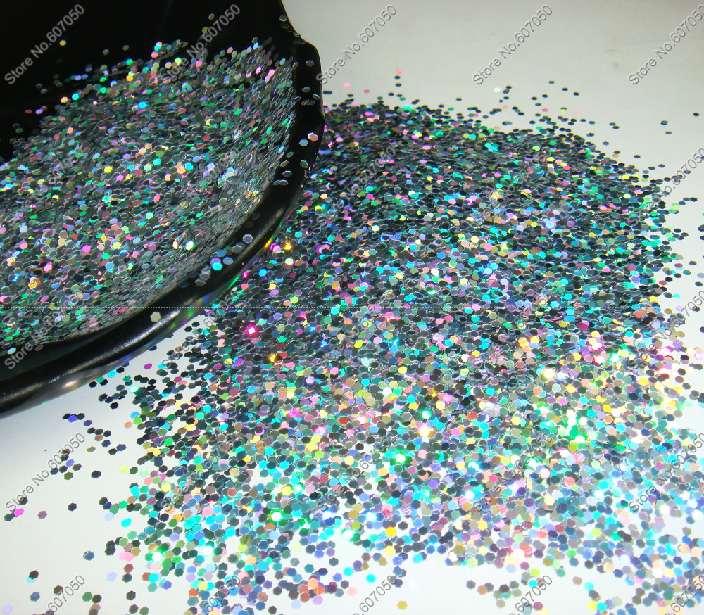 1.5 MM (1/16 ) 060inch-Laser Holographique Argent Brillant Hexagon Glitter Paillette Paillettes Forme pour Nail Art & Glitter artisanat