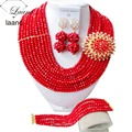 Fashion Red Nigerian Beads Crystal Necklaces Bracelet Earrings African Wedding Beads Jewelry Set  CPS-2171