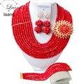 Moda Red Beads Nigerianos Crystal Collares Pulsera Pendientes Beads Boda Africana Sistema de La Joyería CPS-2171