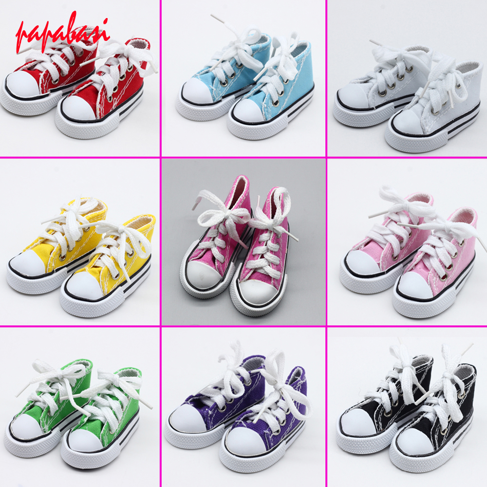 Assorted Colors 7 5cm Canvas Shoes For BJD Doll font b Toy b font 1 4