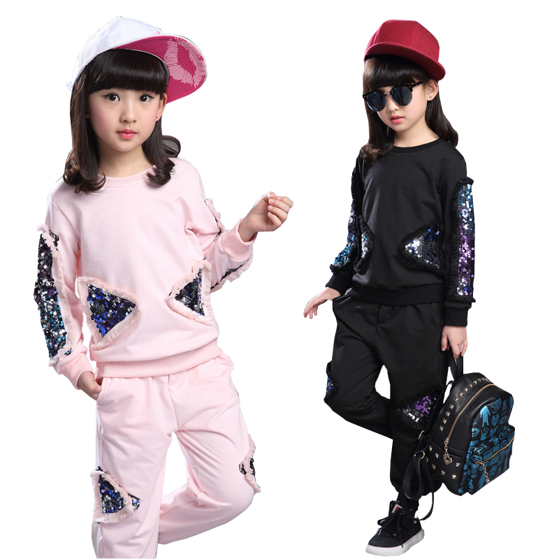 2016 Gold velvet Girl Clothing Set Spring Autumn New Kids Sports Suit Long Sleeve Top girls jacket Pants Sets gilr clothing set children s clothing autumn girls suit 2015 new kids long sleeve sports casual sets big girls cartoon princess spring 3 piece