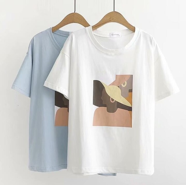 Abstract Printing White T-Shirts Tees Women Short Sleeve O Neck Tops 2019 Summer Student T-Shirts Harajuku 2
