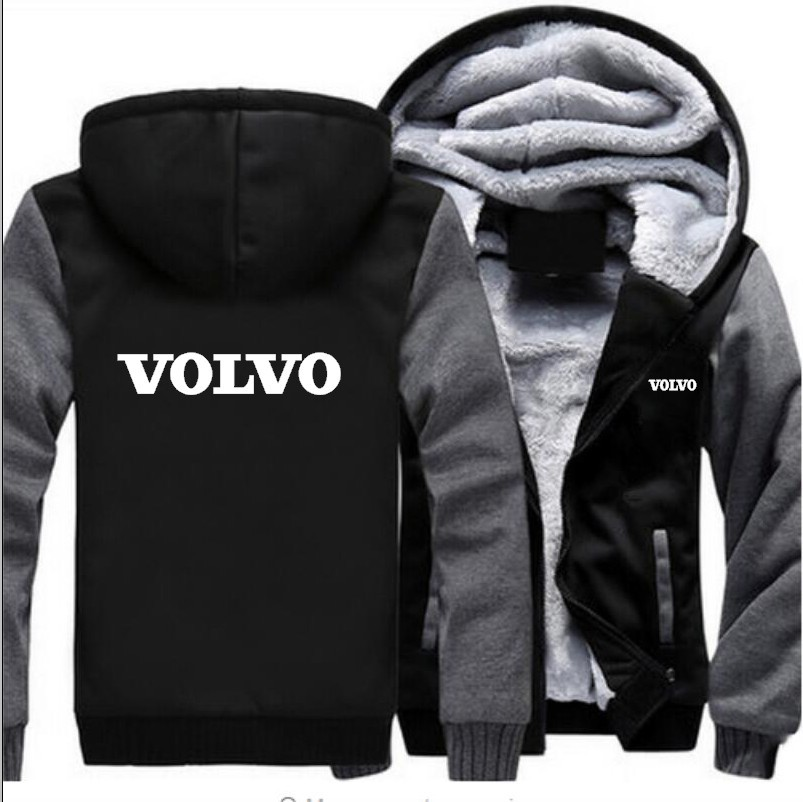 New Fashion Men's Autumn Winter Volvo Sweatshirt Thicken Velvet Coat Jacket Outwear