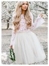 Long Stare Sleeves Wedding Dress Lace Knee Length Bride Dress Two-pieces Lace Top Beach Informal Dress Cheap Robe de mariee 2019 цена 2017
