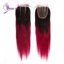 7A Best quality Silky Straight Lace Closure soft human hair Closure Brazilian Two Tone color T1b