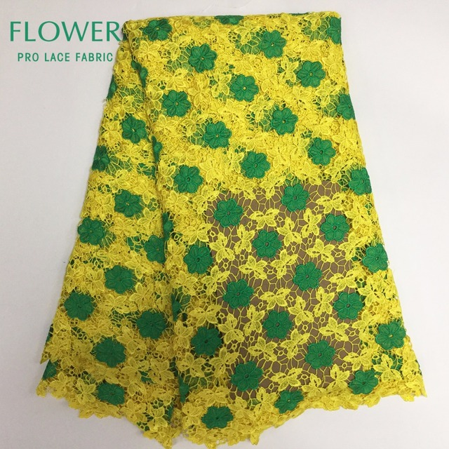 Nigerian Embroidery Cord Lace Fabric Green Flower Style Yellow ...