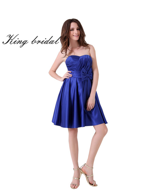 88c3dbece605 2017 Strapless Short Bowknot Prom Dresses Elegant Royal Blue Pleated Party  Gowns Cheap Modest Knee Length Homecoming Dress New
