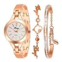 New Fashion Women Bangle Quartz Analog Dress Wrist Watch Gifts 2 Chain Bracelet