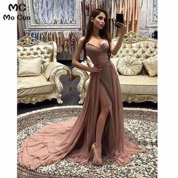 2019 Elegant Evening Dresses Long Spaghetti Straps V-Neck Chiffon Side Slit Formal Evening Party Dress for Women