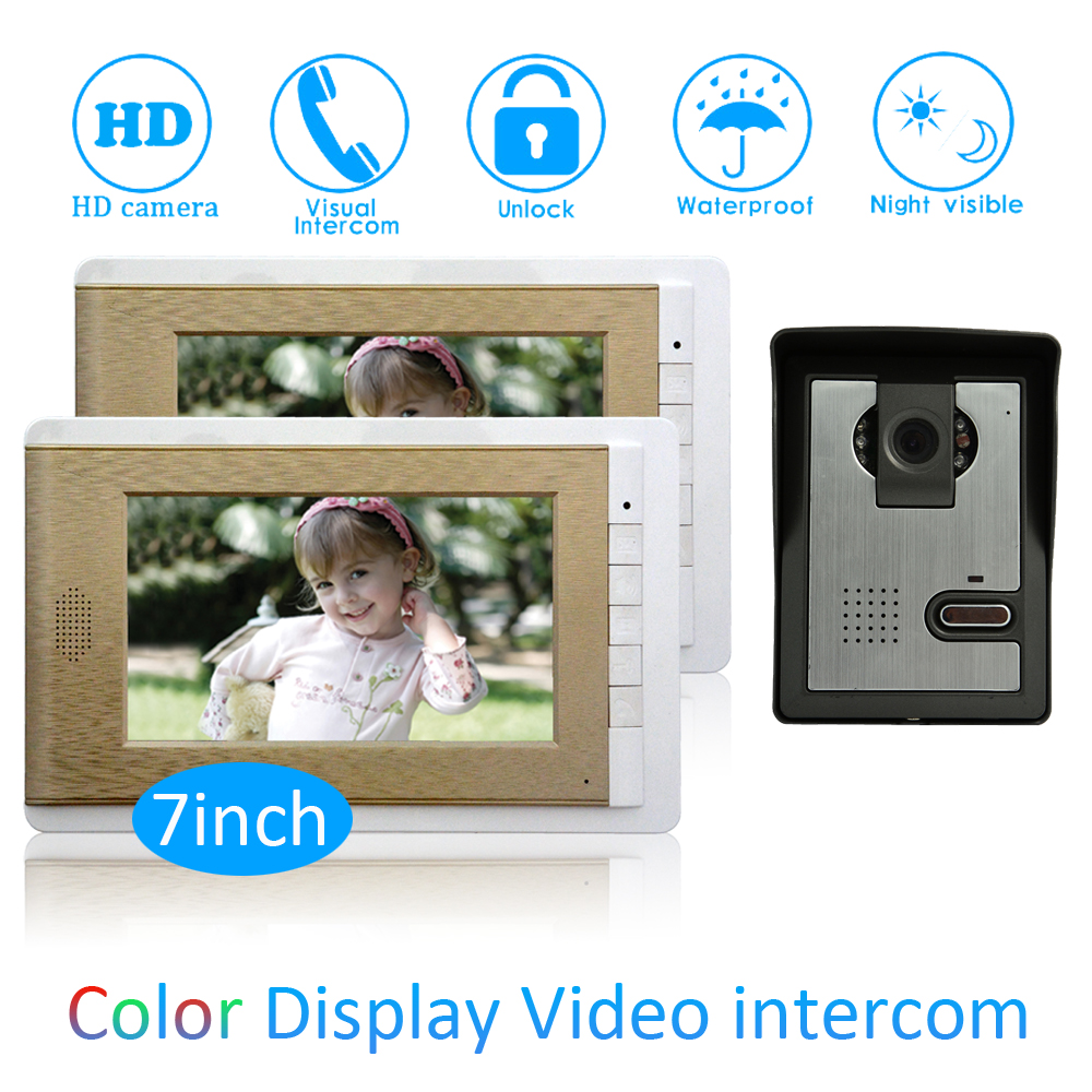 1 Set Home Digital One to Two Video Door Phone 2 Floor House Monitor Intercom System Smart Control Doorbell Waterproof Camera d114b smart home 1v2 wireless intercom one to two video door phone 2 4g digital pir detection video door peephole camera