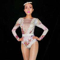 Women Sparkly Pearls Crystals Bodysuit Nude Stretch Outfit Celebrate Glisten Leotard Rhinestones Costume Singer Sexy Wear DJ DS