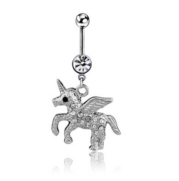 2016 New Arrival Fashion Rhinestone Butterfly Belly Button Ring Body Piercing Jewelry Unicorn Navel Ring Drop Shipping