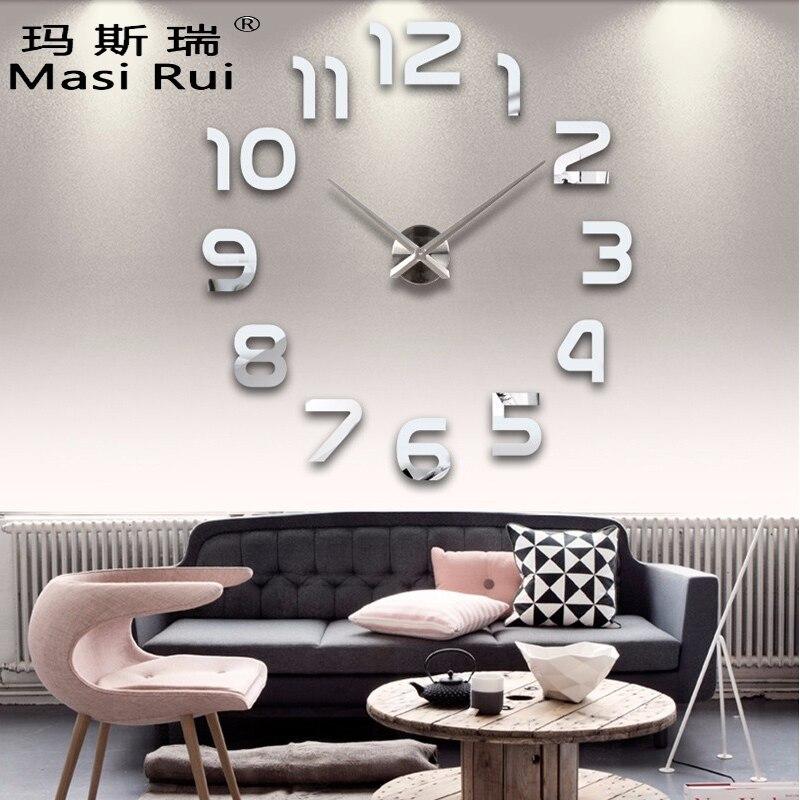 2017 New Acrylic Mirror Diy Wall Clock Watch Wall Stickers Reloj De Pared Horloge Large Decorative Quartz Clocks  Modern Design