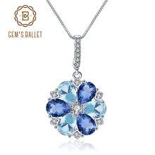 GEMS BALLET Natural Mystic Quartz  Sky Blue Topaz Gemstone 925 Sterling Silver Flower Pendant Necklace for Women Fine Jewelry