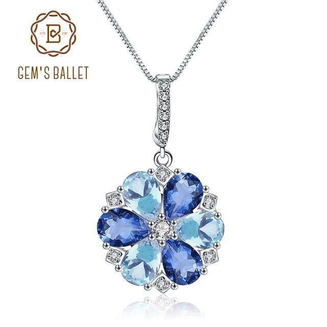 GEMS BALLETT Natürliche Mystic Quarz Sky Blue Topas Edelstein 925 Sterling Silber Blume Anhänger Halskette für Frauen Edlen Schmuck