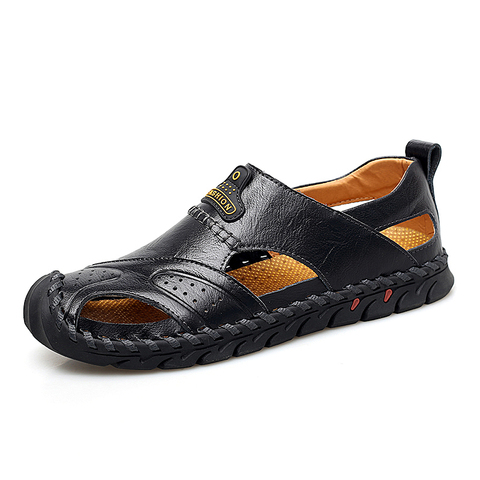 VESONAL Summer Genuine Leather Non-slip Outdoor Hiking Large Size Shoes Men Casual Sandals Breathable Comfortable Beach Sandals Karachi