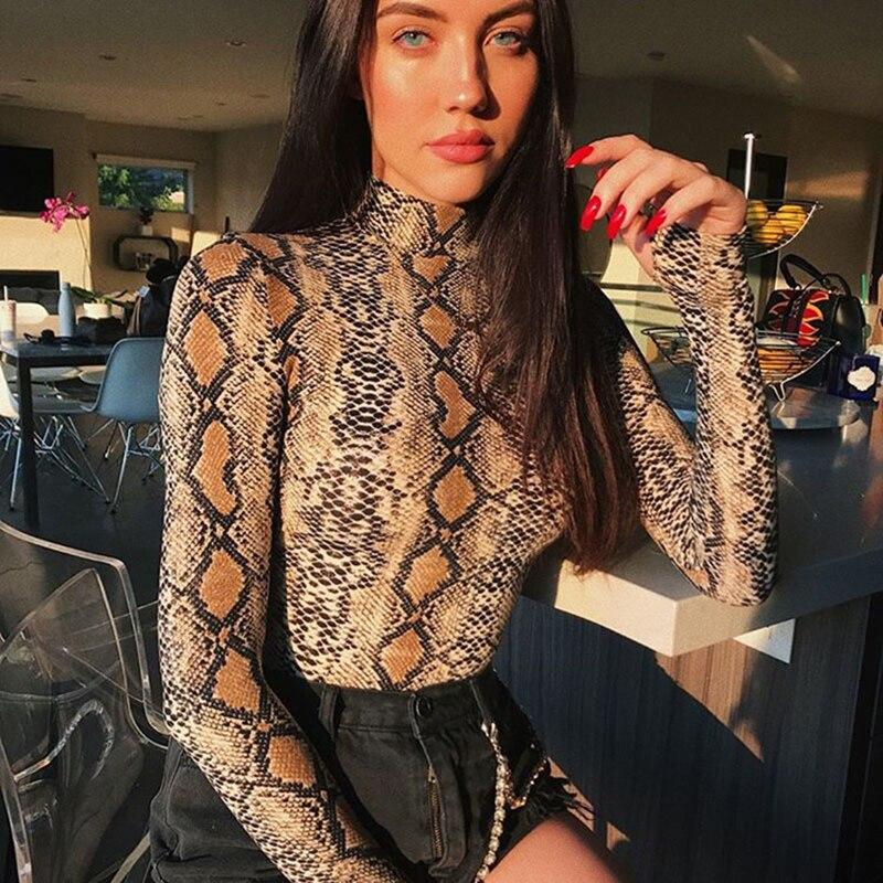Fashion Snake Skin Turtleneck Long Sleeve Bodysuit Sexy Bodycon Romper Women's Jumpsuit 2019 New