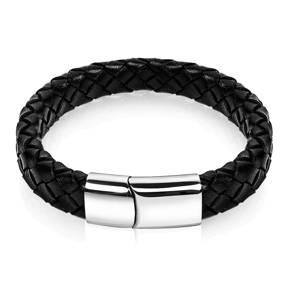 87c08a31c952 Caliente moda Braid negro Cuero auténtico pulsera hombres pulseras de acero  inoxidable punk vintage Pulseras y brazaletes joyería