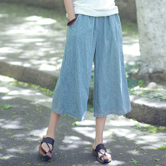 b56cacfeb4610 Summer Casual Wide Leg Pants Women Cotton Linen Striped Cropped Trousers  Elastic Waist Loose Capris Pants Plus Size