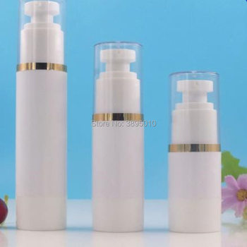 Empty 15ml 30ml 50ml Airless Bottles White Airless Vacuum Pump Lotion Bottle with Silver gold Line Cosmetic Packagings F1034
