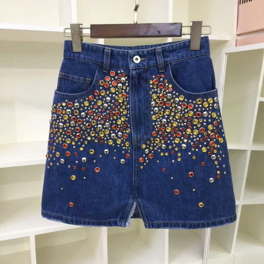 D'été Minijupe Femelle Décontracté Taille Perles Streetwear Denim Printemps 4 Bleu 2019 Jeans ligne Jupes Jupe A Haute Picture As Femmes 3 zOa6Swnqz
