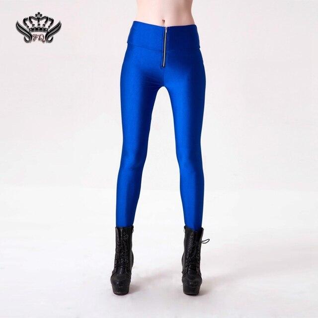 Гетры женщин Повседневная 2016 Мода Sexy Women Slim Fit Glow Люминесцентные Стрейч Леггинсы Блестящие Случайные Конфеты Цвет Брюки S-4XL