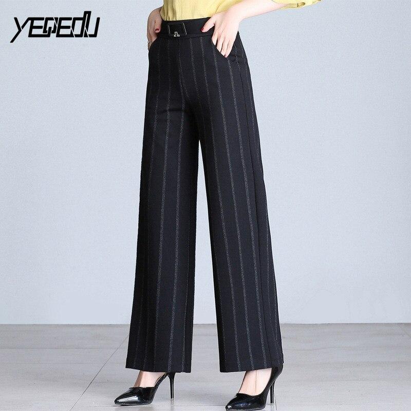 5808 Middle aged women Elegant pants Black Striped High waist Plus size  M-4XL Loose wide leg pants England style Formal pants 5092792146d4