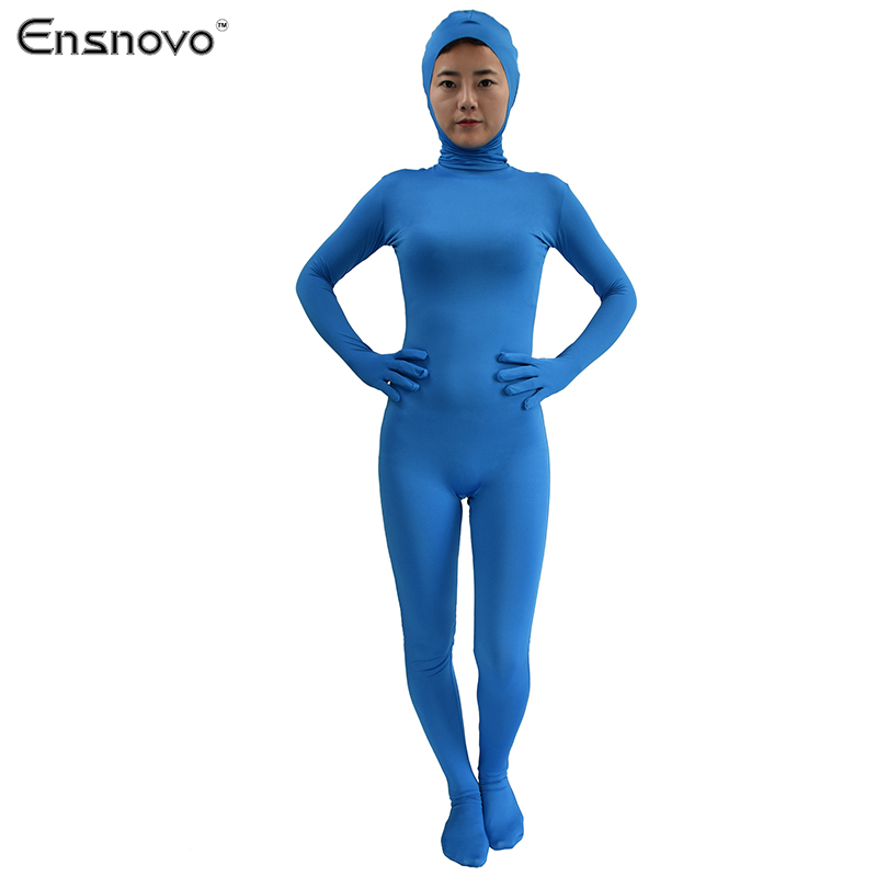 Ensnovo Women Lycra Bodysuit Custom Skin Full Body Tights Nylon Zentai Suit Open Face One Piece Cosplay Costume In Zentai From Novelty Special Use On