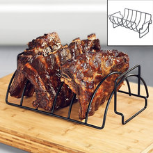 Urijk High Quality Non-Stick Stainless Steel BBQ Tools Steak Holders Rack Grill Stand Roasting Rib Rack Kitchen Accessories(China)