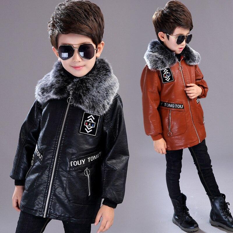 4-13T garçons Faux cuir vestes enfants manteau pour automne et hiver 2019 nouvelle mode Plus velours épais Long chaud en cuir survêtement