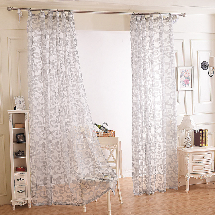 modern style floral design window tube sheer curtain living room decorative white gray tulle. Black Bedroom Furniture Sets. Home Design Ideas