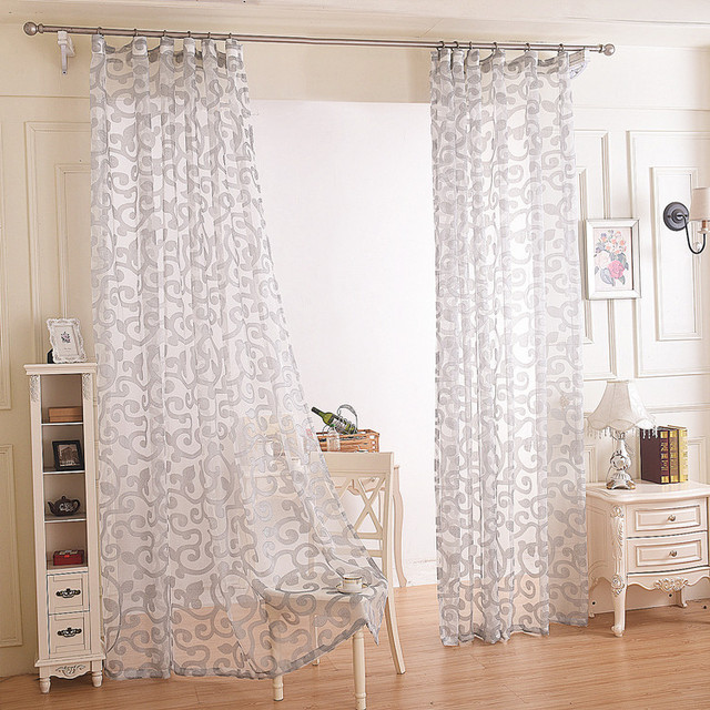 moderne style floral design fentre tube sheer rideau salon dcoratif blanc gris tulle tissus. Black Bedroom Furniture Sets. Home Design Ideas